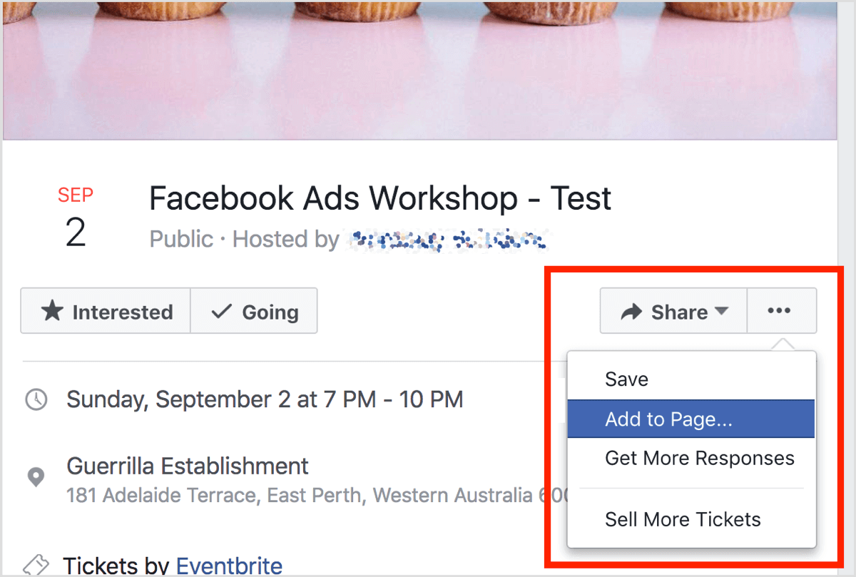 Go to the Facebook event, click the three dots button, and select Add to Page.