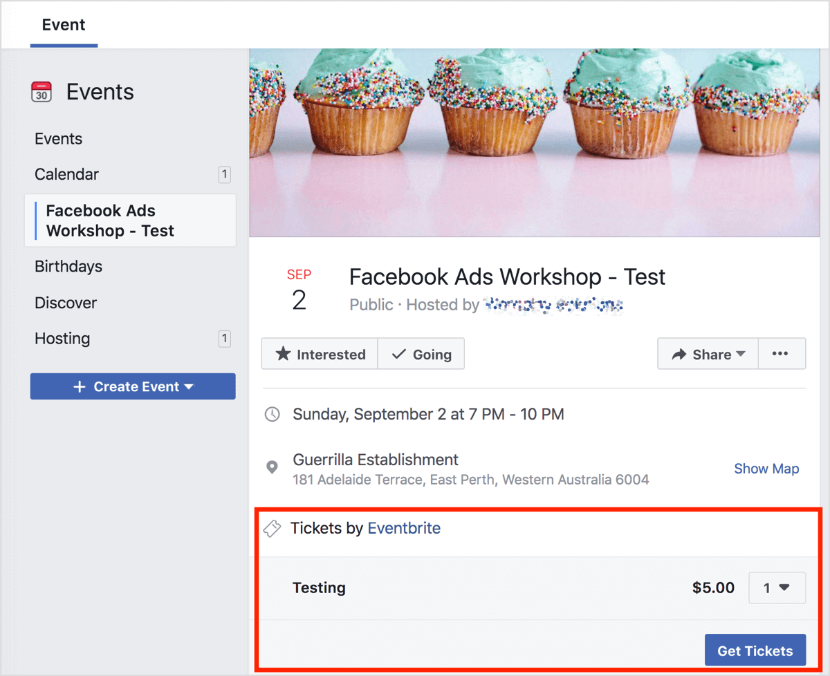 This is what the Facebook event page will look like to you as an admin.