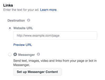 Choose a destination for your Facebook Messenger ad.
