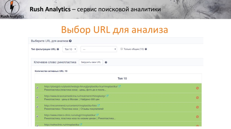 selection of url for analysis