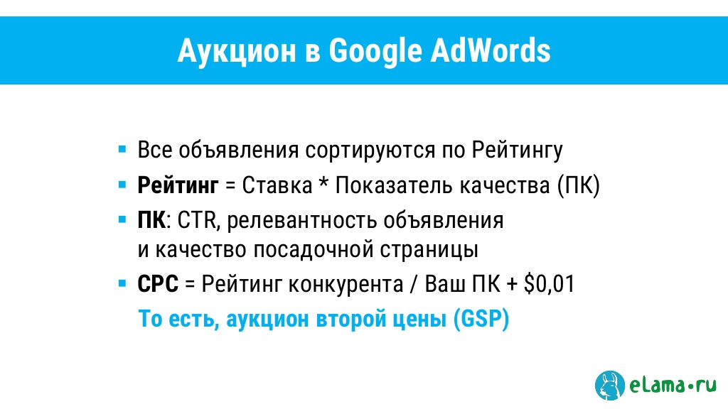 Auction in Google AdWords