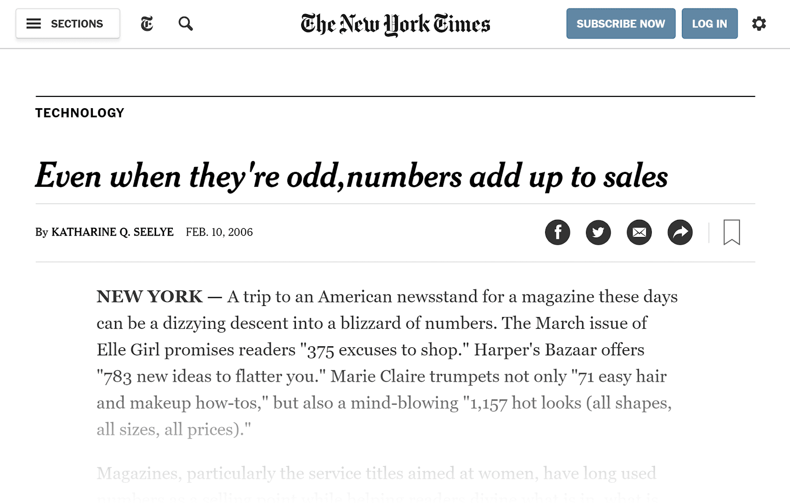NY Times – Numbers post