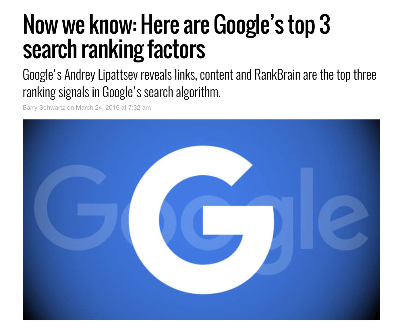 Google top ranking factors