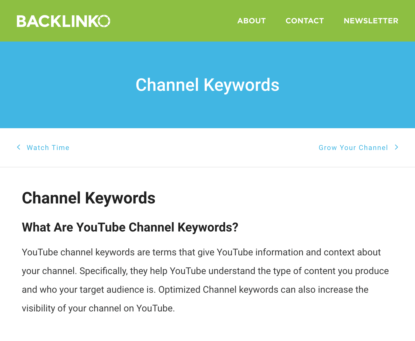 YouTube Hub – Channel Keywords